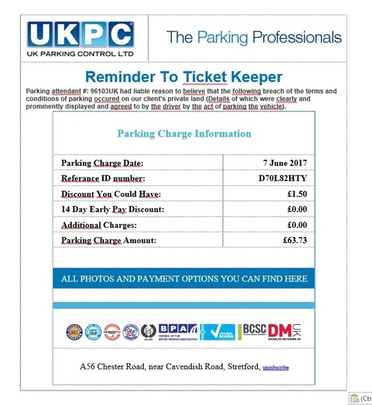 UKPC scam email ticket